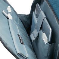 Præcis indvendig organisering med ikoner, inklusiv en RFID-skærmet pose i den forreste lomme.